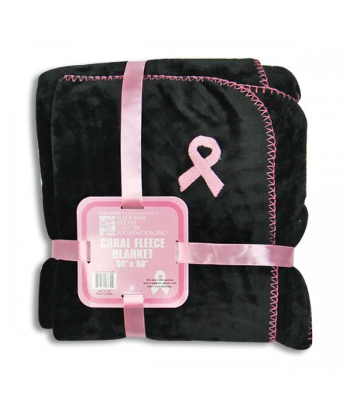 FLEECE BLANKET WITH PINK RIBBON EMBROIDERY