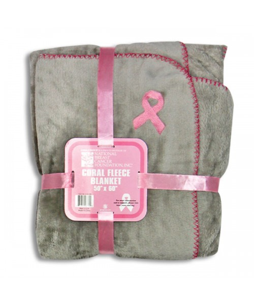 Pink ribbon fleece blanket