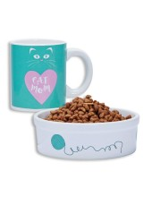 COFFEE MUG AND PET BOWL - CAT MOM