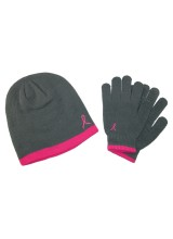 WOMEN'S PINK RIBBON KNIT HAT AND GLOVES SET